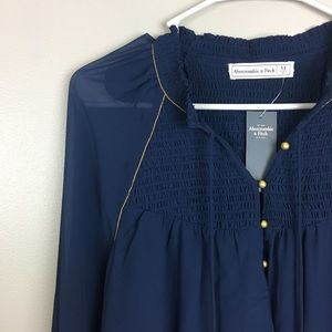 Abercrombie and Fitch blue peasant top